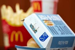 MacDonalds fish burger with MSC logo