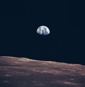 Earth rising, as seen from the moon
