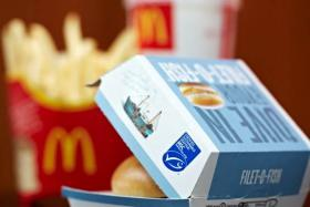 MacDonalds fish burger with MSC logo